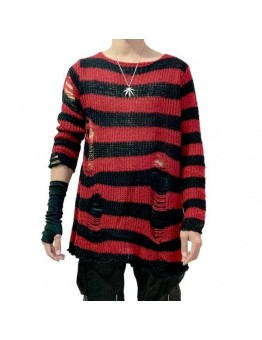 Men's Distressed Punk Gothic Striped Long Sweater