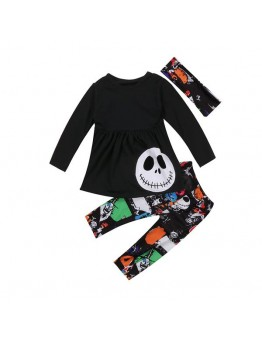 3PCS Toddler Outfits Long Sleeve Skull T-shirt Tops +Pattern Colorful Pants