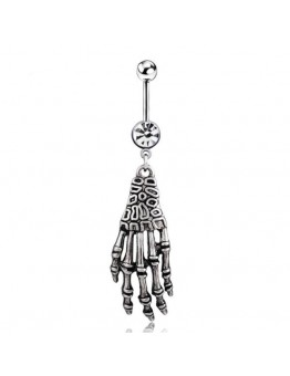 Skull Hand Navel Belly Button Ring Body Piercing