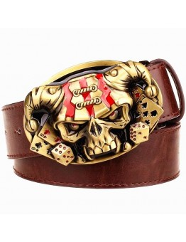 Men's Leather Belt Skull Exaggerated Style Belt